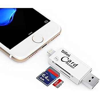 Difini SD/TF Micro Card Reader , USB Adapter With Lightning Connector , External Storage Memory Expansion for iPhone/iPad/Android phones/Mac/PC , 3 in 1