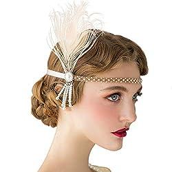 1920s Pearl Peacock Feather Flapper Headband Fascinator