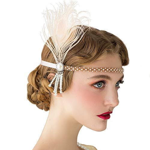 SWEETV 1920s Headpiece Flapper Headband, Pearl Peacock Feather Fascinator, Great Gatsby Accessoreis for Women, Champagne]()