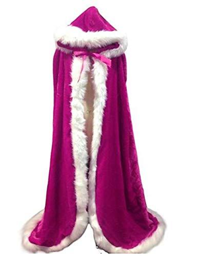 Scialle Caldo Di Cappuccio Abbigliamento Fucsia Artificiali Meibida Mantello Da Con Natale Donna Capelli Inverno nAtWRqwY