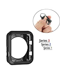 Case for Apple Watch 42mm,Shock-proof and Shatter-resistant Protective Flexible Lightweight Plated TPU Case Protective Bumper Cover for Apple Watch Series 3, Series 2, Series 1 (Black, 42mm)