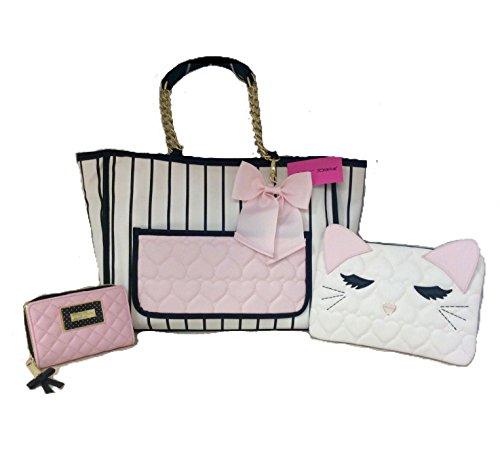 Betsey Johnson 3 pc Set, Tote Shopper Handbag, Kitty Cat MakeUp Bag...