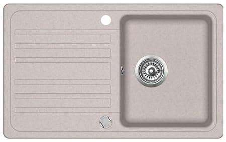 Évier de cuisine en granit 46 x 77 avec égouttoir à encastrer Beige/noir + dispositif d'écoulement, beige VBCHome