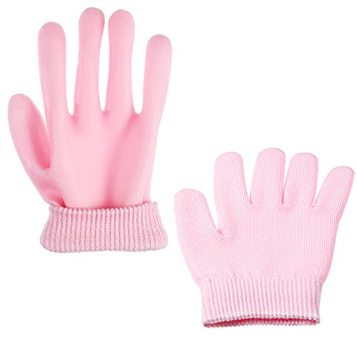 Bememo Soft Cotton Gel Moisturizing Spa Gloves and Socks for Cracked Dry Skin for Both Women and Men (Pink) by Bememo (Image #5)