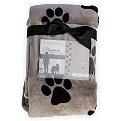 Pawprints Left by You Pet Memorial Blanket with Heartfelt Sentiment - Comforting Pet Loss/Pet Bereavement Gift