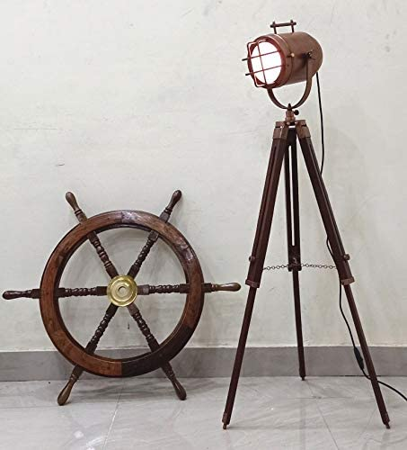 Copper Finish Antique Marine Tripod Office Floor lamp Nautical Gift Item