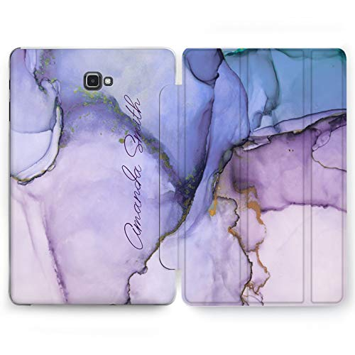 Wonder Wild Purple Aquarelle Samsung Galaxy Tab S4 S2 S3 Smart Stand Case 2015 2016 2017 2018 Tablet Cover 8 9.6 9.7 10 10.1 10.5 Inch Clear Cover Personalized Custom Name Colorful Bright Iridescence
