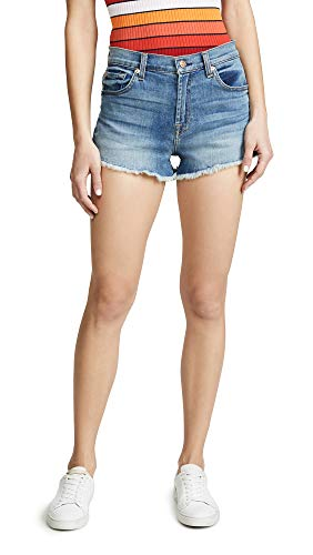 7 For All Mankind Women's High Waist Shorts, Primm Valley, Blue, 28 ()