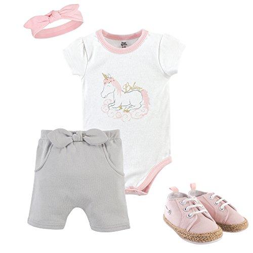 Summer Crib Set - Yoga Sprout Baby Shorts, Bodysuit, Headband and Shoe Set, Unicorn, 0-3 Months