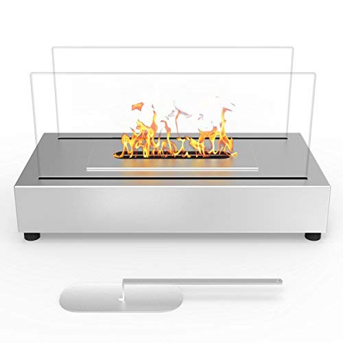 Regal Flame Avon Ventless Indoor Outdoor Fire Pit Tabletop Portable Fire Bowl Pot Bio Ethanol Fireplace in Stainless Steel – Realistic Clean Burning like Gel Fireplaces, or Propane Firepits