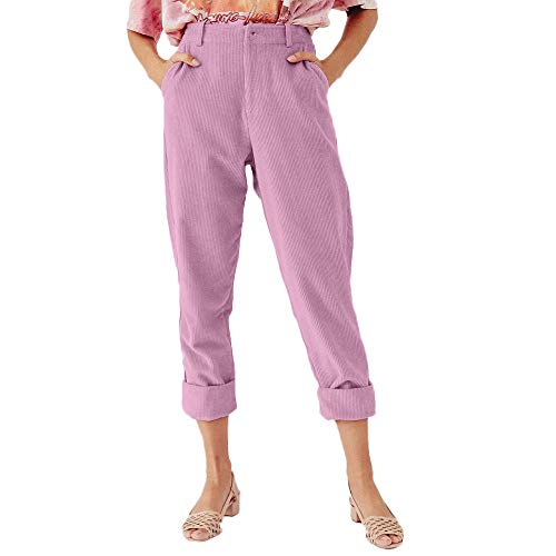 (iYYVV Women Corduroy Fashion Solid Full Length Button Fly Pants Pocket Slim Fit Trouser Pink)