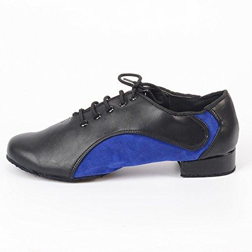Abby M8 Mens Nouveau Branché Classique Classique Tango Fermé Toe Salle De Bal En Cuir Chaussures De Danse Standard Bleu