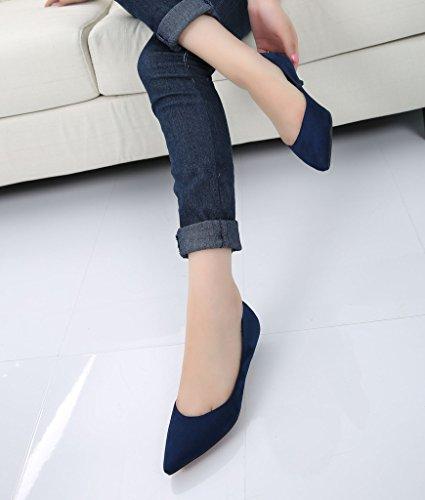 Mode Féminine Classique Slip Sur Bout Pointu Robe Chaussures Talon Bas Pompe Dames Chaussures 03 # Sude Bleu