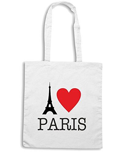 T-Shirtshock - Bolsa para la compra T0171 I LOVE PARIS Blanco