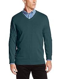 Men's Fine Gauge Solid V-Neck Sweater, June Bug, Large