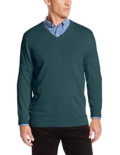 IZOD Men's Fine Gauge Solid V-Neck Sweater, June Bug, Medium (Fine Gauge Wool)
