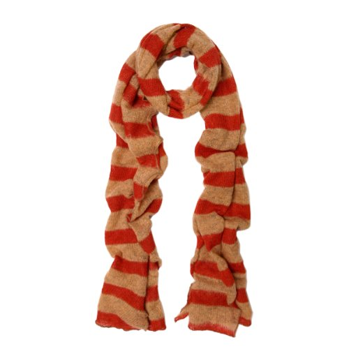 Premium Long Soft Knit Striped Scarf, Coral
