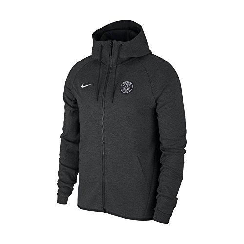 NIKE Tech Fleece Paris Saint Germain Windrunner Jacket [BLACK HEATHER] (XL) - Nike Leather Jacket