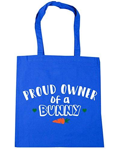 HippoWarehouse orgulloso propietario de un conejo bolsa de la compra bolsa de playa 42cm x38cm, 10litros Azul Aciano