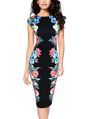 Vfemage Womens Elegant Floral Printed Slimming Cocktail Party Casual Dress 2845 BLK 12