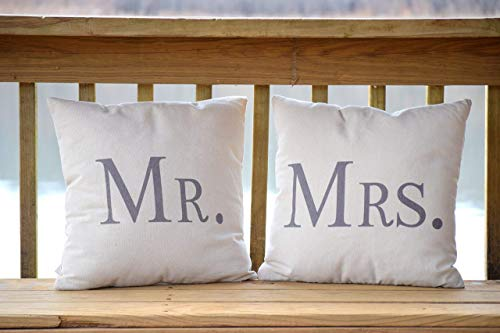 (Decorative Pillows - Mr and Mrs - 17.7 x 17.7 Inches - Mr and Mrs Pillows - Marriage Pillows - Wedding Gifts - Wedding)