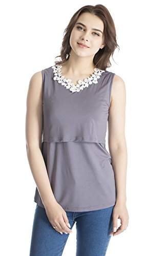 1f653456401208 Modern Mummy Women s Lace Sleeveless Nursing Maternity Pregnant Breastfeeding  Tank Tops Darkgray Medium