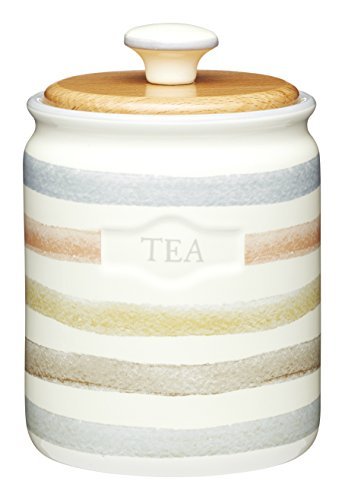 (KitchenCraft Classic Collection Striped Ceramic Tea Caddy )