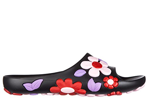 Prada women's rubber slippers sandals flower black US size 5 1XX332 3J2J F0002