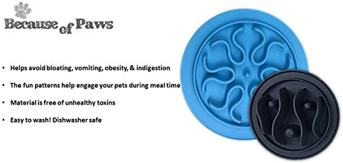 Because of Paws Set of 2 Silicone Dog Slow Feed Bowls - Small and Large Set - Fun and Healthy - Bowl Insert
