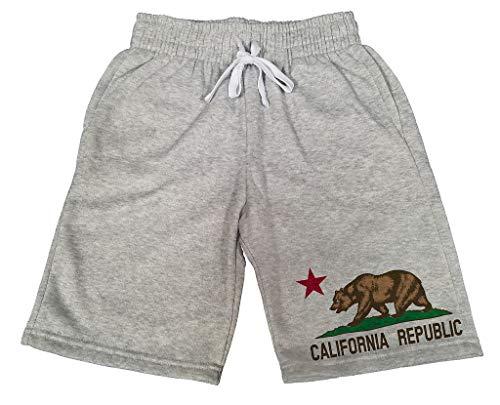 Men's Original California Republic Bear B449 Gray Fleece Jogger Sweatpants Gym Shorts X-Large ()