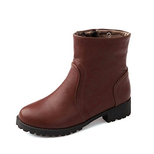 PU Solid Toe Low Heels Womens Boots AllhqFashion Brown Round Closed Zipper 8wEfn