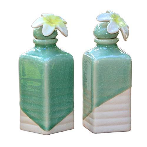 NOVICA Floral Ceramic Oil Bottles, Green, Frangipani' (Pair)