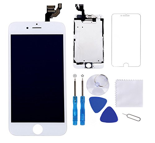 Screen Replacement for iPhone 6 Plus White 5.5 LCD Display Touch Digitizer Frame Assembly Full Repair Kit,with Proximity Sensor,Ear Speaker,Front Camera,Free Screen Protector,Repair Tools