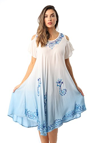Riviera Sun 21842-SKY-M Cold Shoulder Umbrella Dress Dip Dye Maxi Dress