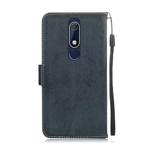 nokia supporto pelle incorporata a 10 Funzione per con Custodia X5 Custodia a chiusura Custodia Custodia portafoglio 1 V Lyzwn di magnetica per 5 PU portafoglio Nokia in Plus portafoglio Yc4qSwP