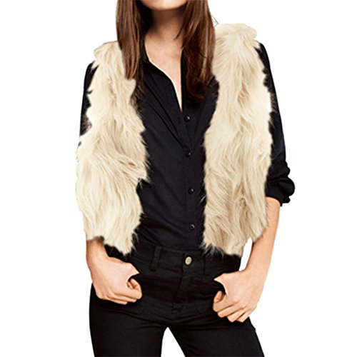 E.JAN1ST Women's Faux Fur Vest Long Hair Open Front With Hook Short Waistcoat Vest, Cream, TagsizeL=USsize0 (Cream Spring Coat)