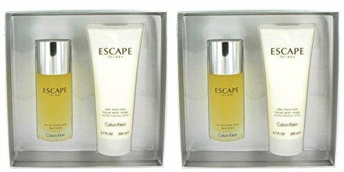 Cālvin Klēin Escápe Cólogne For Men Gift Set - 3.4 oz Eau De Toilette Spray + 6.7 oz After Shave Balm (2 Pack) + a FREE Wings Cologne 3.4 oz Shower (Calvin Klein Escape)