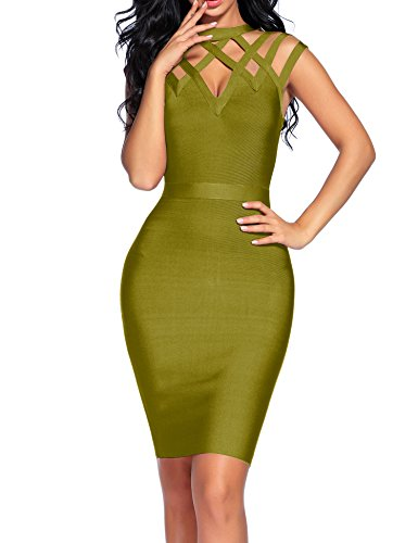 houstil Women's Bandage Dress Collared Hollow Out Bodycon Party Dress (L, Olive)