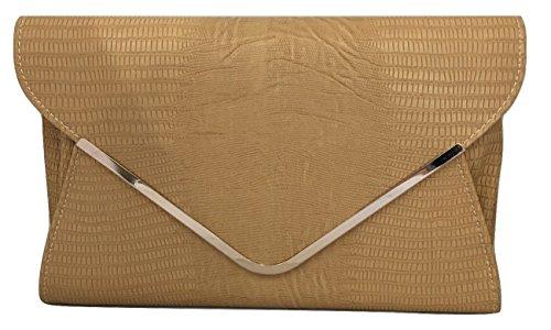 Bag Brown Ladies Clutch Envelope Animal Light Flat Print Khaki Evening Y1UwxPCU8q