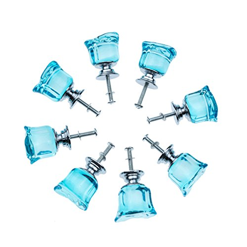 8 Pcs Aqua Blue Crystal Glass Cabinet Knobs 30mm Rose Flower Shape Drawer Kitchen Cabinets Dresser Cupboard Wardrobe Pulls Handles