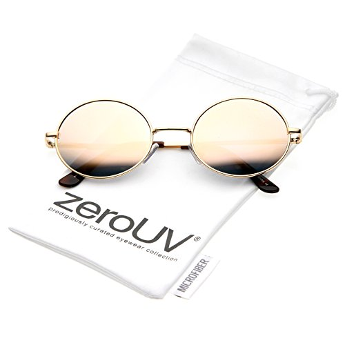 zeroUV - Classic Lightweight Slim Arms Colored Mirror Flat Lens Oval Sunglasses 50mm (Gold / Pink - Oval Flat Sunglasses Lense