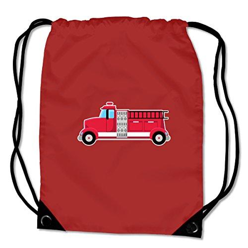 plot4u Turnbeutel Feuerwehrauto Feuerwehr Sportbeutel für Schule Sport Sporttasche Bag Base® BG10 Gymsac 45x34cm saphir blau/farbiger Aufdruck Violett/Farbiger Aufdruck