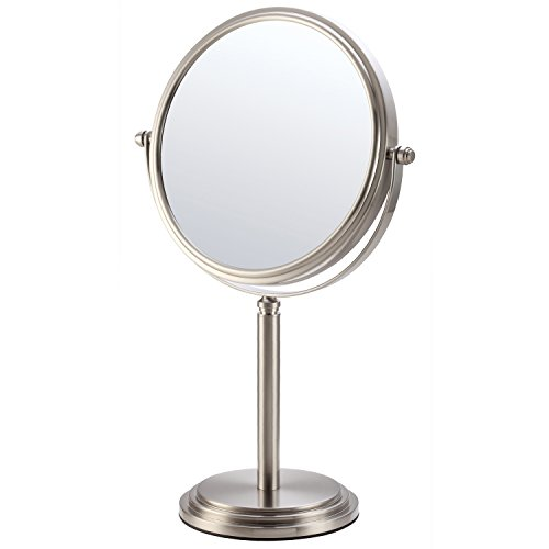 Mirko 7x Magnification 8 Inch Double-Sided Swivel Tabletop Vanity Makeup Mirror, 15.15-inch Height, Brushed Nickel Finish For Sale