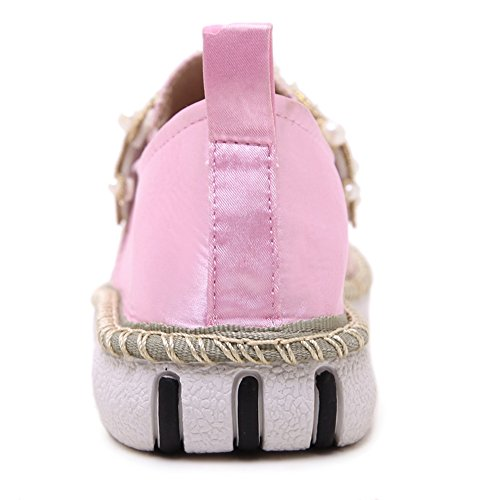 fereshte Women's Casual Mesh Lace Flat Shoes Pearl Slip-on Antiskid Cap-Toe Loafers Pink YGvCluoLLU