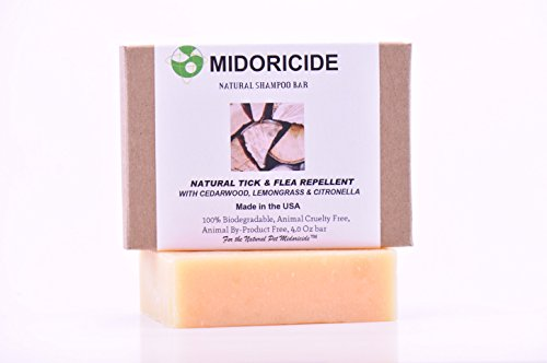 MIDORICIDE NATURAL PET SHAMPOO BAR-CEDARWOOD+LEMONGRASS+CITRONELLA-Flea & Tick Fighter-Deet Free- 4oz ()