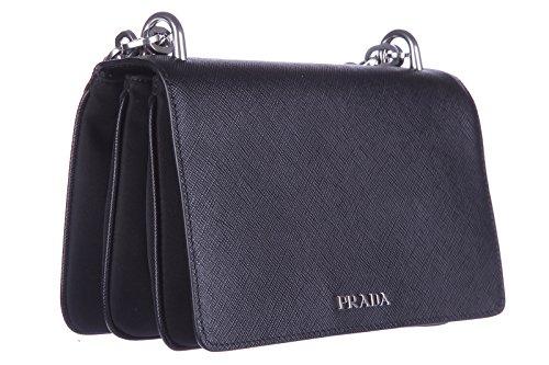 Prada original bag saffiano shoulder women's women's black leather Prada SFYRwddq7
