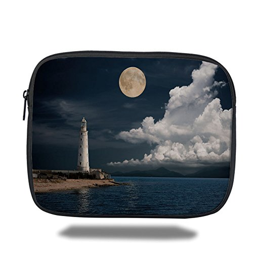 iPad Bag,Moon,Old Lighthouse by the Sea with White Clouds and Calm Ocean Landscape Photo Decorative,Dark Blue Ivory White,3D Print