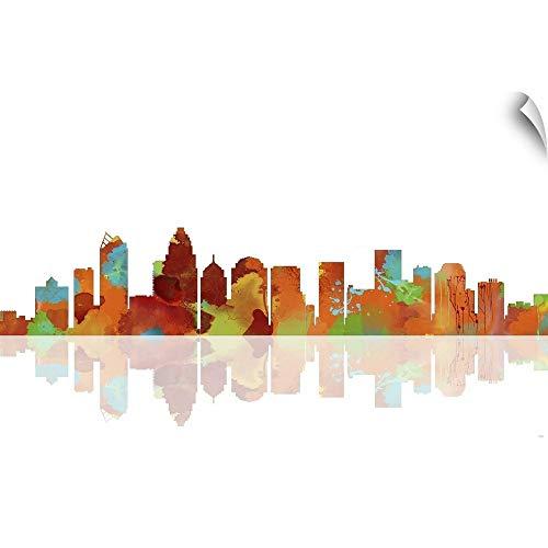 CANVAS ON DEMAND Charlotte NC Skyline I Wall Peel Art Print, 24