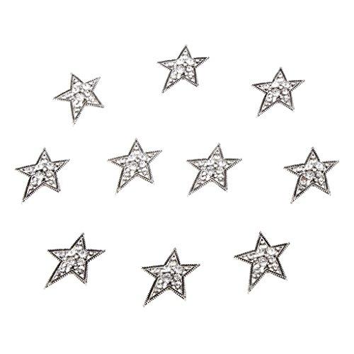 Design Silver Stars Case (Pack of 10 Star Shape Rhinestone Buttons Flatback Embellishments for Wedding Hair Bow Craft DIY Silver)