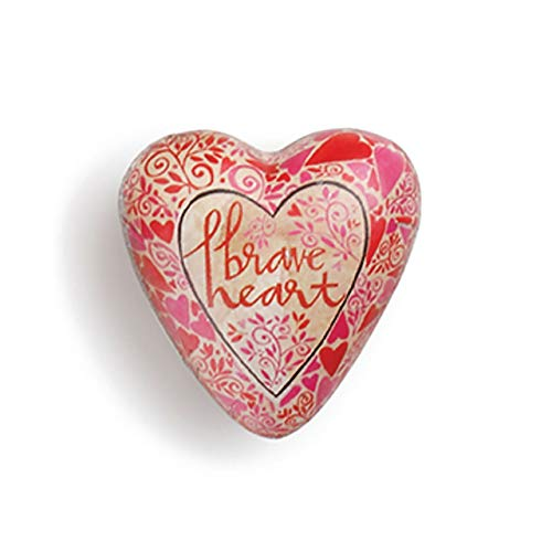 DEMDACO Brave Heart Floral Red 2 x 2 Resin Stone Collectible Art Heart Token Figurine ()